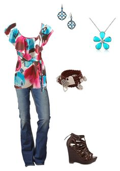 A Peek at Spring by cloudyeyz on Polyvore featuring polyvore fashion style Arden B. True Religion Bibi Bijoux Del Gatto 1928 clothing blue turquoise cranberry leather jeans teal casual pink brown