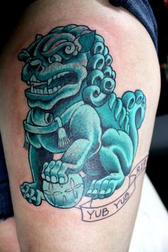 Foo Dog Japanese Foo Dog, Small Tattoos, Cool Tattoos, Foo Dog Tattoo, Buddha Tattoos, Lion Dog, Traditional Japanese Tattoos, Japan Design, Tattoo Designs