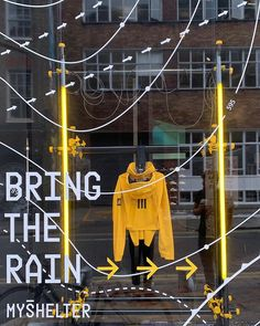 "ADIDAS ORIGINALS, Hanbury Street, Slotalfields, London, UK, ""Bring the Rain!"", (MyShelter - An urban jacket to protect you from the unpredictable English weather), creative by StudioXAG, pinned by Ton van der Veer Adidas Presents, Office Spaces, Store Design, Adidas Originals, Shelter, Bring It On, Rain, Weather, English"