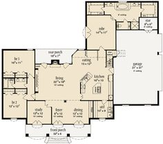 Craftsman Style House Plan - 3 Beds 3 Baths 2500 Sq/Ft ...
