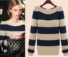 "Fabric+composition:woolen  Color:As+picture  Size:+One+size  Size:+Bust:98CM/38.6""Sleeve:64CM/25.2""+Length:64M/25.2""  Round+neck+pullover+striped+sweater,+beautiful+and+remarkable+temperament. Note: Washing+can+be+soaked+in+water+for+a+few+minutes+before,+but+should+not+be+too+long;+dar..."