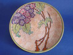 Charlotte Rhead Crown Ducal 'Hydrangea' Wall Plaque c1935 - Pattern 3797