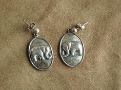Elephant Oval Sterling Silver Earring