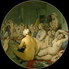 "peinture française orientaliste : Ingres, ""le bain turc"", harem, hammam, 1862, tondo"