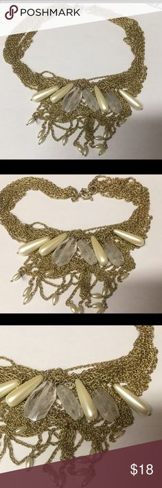 Gorgeous Banana Republic gold statement necklace BR necklace with multi strands in gold and accents of pearl and clear acrylic beading. Banana Republic Jewelry Necklaces
