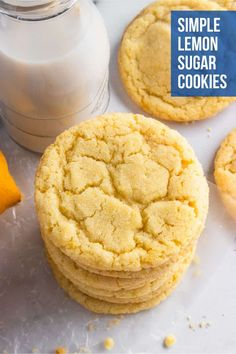 These Small Batch Lemon Sugar Cookies are soft and chewy and with the perfect amount of citrus to bring some sunshine to your day. One bowl and no chill--this easy recipe will be a new favorite for the whole family! Lemon Sugar Cookies, Sugar Cookies Recipe, Yummy Cookies, Cookie Recipes, Dessert Recipes, Lemon Desserts, Lemon Recipes, Delicious Desserts, Chocolate Chip Cookies