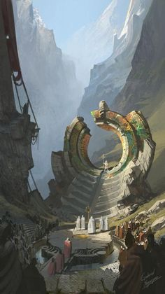 Stargate Concept art ancient religious areain the mountains environment design scenes, beautiful and ancient temple architecture of old fantasy city ruins and building landscape scenery illustrations Fantasy City, Fantasy Places, Fantasy Kunst, Fantasy World, High Fantasy, Fantasy Queen, Fantasy Castle, Fantasy Dress, Concept Art Landscape
