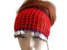 Red Knit Head band, Women Headband, Gypsy Headband, Adult Head band, Turban Head band, Head band Adult, Crochet Head band, Festival Headband   Red merserized yarn was used. The edges are purple. The silver color was decorated with beads.  You can use it as a headband and in your neck. Excellent accessory.  You can use it in all seasons. Hair adds beauty. Stylish style headband.    MAINTENANCE INSTRUCTIONS Hand washing. Leave it to the institution.   Deliveries will be sent within 1-3 days of…