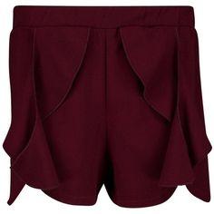 Boohoo Mia Frill Detail Shorts ($26) ❤ liked on Polyvore featuring shorts, hot shorts, sequin shorts, sequin hot pants, flat-front shorts and stretch waist shorts