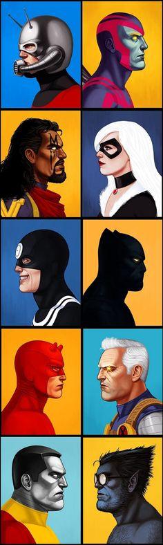 Posters de Super-Heróis e Vilões por Mike Mitchell.