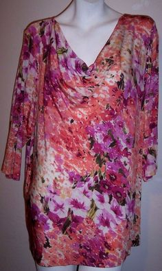 Karen Kane Top 3X Floral Slinky Stretch Liquid Knit Plus Size Tunic Shirt 3X #KarenKane #KnitTop #Casual