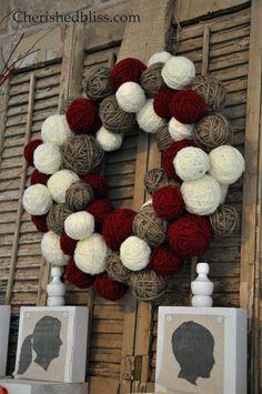 Cheap Way to make a yarn ball wreath via Cherishedbliss.com