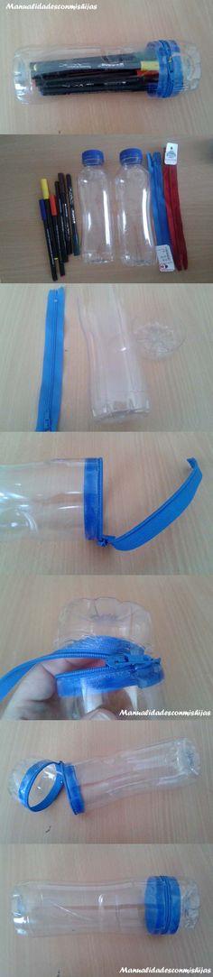 Manualidadesconmishijas: Original estuche para la #vueltaalcole #reciclado Realizado con botellas de plástico y cremallera