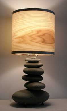 Alaska beach-stone lamp with poplar wood veneer shade. *** You can find out more details at the link of the image. Lampe Rock, Rock Lamp, Lamp Design, Lighting Design, Stone Lamp, Driftwood Lamp, Creation Deco, Rock Decor, Bedside Table Lamps