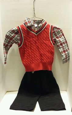 Boys Red Plaid Shirt Blk Pants Red Sweater 3 pc Outfit New 24mo Easter Special #GeorgeFadedGlory #DressyEverydayHoliday
