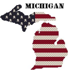Cross stitch pattern of the state of Michigan using Weeks Dye Works and DMC floss