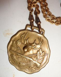 vintage National Sportsman necklace Stag fob Pendant 1940s 50s Deer jewelry Americana wood Rosary bead Dude unisex Womens gift Hipster