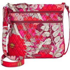 Vera Bradley Triple-Zip Hipster Crossbody (235 RON) ❤ liked on Polyvore featuring bags, handbags, shoulder bags, bohemian blooms, red shoulder bag, red cross body purse, shoulder strap bags, cross-body handbag and shoulder strap handbags
