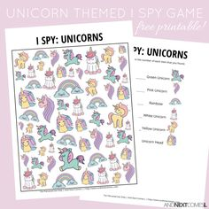 Free unicorn themed I Spy game for kids from And Next Comes L