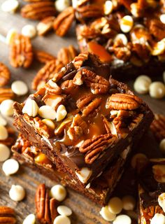 Turtle Brownies ~ Fudgy Brownies packed with Chocolate Chips, Salted Caramel Sauce and Pecans. Almost too good to be true!