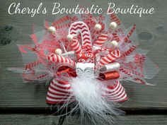 Candy Cane Burst boutique bow Burst bow on Clip by CherylsBowtasticBows