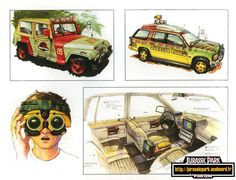 Jurassic Park jeeps concept art by John Bell. Originally a car designer, Bell's work on JP as both an art director and a storyboarder made a huge emphasis on the vehicles.
