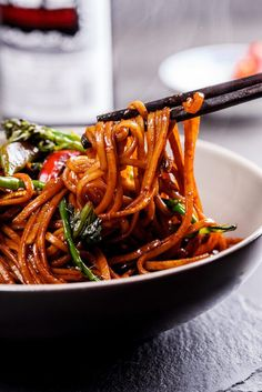 Saucy noodles stir-fried with good-for-you vegetables and a very slurpable sauce is a great, easy weeknight dinner.