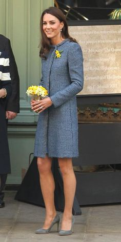 The Duchess wearing a steel blue M Missoni coat paired with gray Rupert Sanderson pumps.