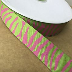"""Crazy Discount 1-1/2"""" 38mm Apple Green Zebra Pink Printed Grosgrain Ribbon Creative Products DIY Decoration Materials 100 Yards"""