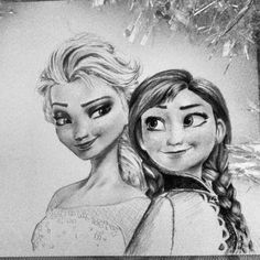 Elsa & Anna - Frozen (겨울왕국/Frost) [Graphite Drawing]