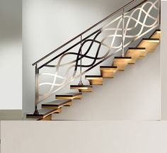 Modern interior staircase design ideas 2018 for luxury lovers, wood, glass, concrete and metal interior stairs designs and stair railing for high-class homes and villas Staircase Railing Design, Interior Stair Railing, Modern Stair Railing, Balcony Railing Design, Iron Stair Railing, Staircase Railings, Modern Stairs, Railing Ideas, Bannister Ideas