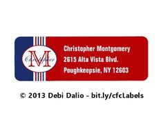 These colorful return address labels feature red, white, and blue stripes topped on the left with an oval containing a customizable name and initial. On the right are three lines of text that can be customized with your personal information. http://www.zazzle.com/monogrammed_red_white_and_blue_striped_label-106326559742873123?rf=238083504576446517&tc=20161219_pint_NI #stationery #monogrammed #StudioDalio #Zazzle