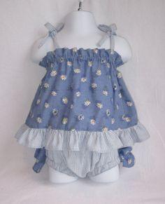 Daisies & Stripes Child's Sundress & Matching Ruffled Bloomers