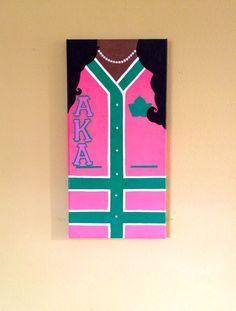AKA Letterman Sweater Painting by HelloSoror on Etsy Aka Sorority, Alpha Kappa Alpha Sorority, Sorority Life, Sorority And Fraternity, Sorority Canvas, Letterman Sweaters, Alpha Female, Greek Art, Pretty In Pink