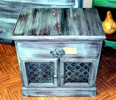 Turquoise end table by taffiepounders on Etsy, $175.00