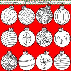Clip Art Christmas Ornaments in black and white: Get ready to decorate for the holidays!! Christmas Ornaments are here!! Get these unique Christmas bulb images to decorate classrooms, crafts, lesson plans, TPT products, and work sheets. These are also great for matching games. I hope you enjoy this set as much as I enjoyed drawing it!
