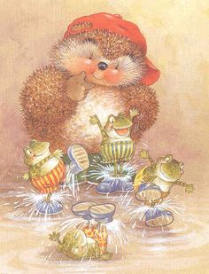 Country Companions: hedgie with frogs