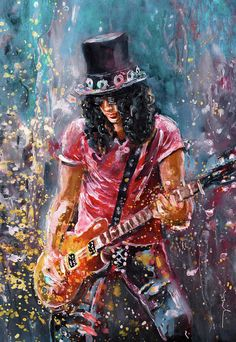 """""""Slash"""" Painting by Miki de Goodaboom posters, art prints, canvas prints, greeting cards or gallery prints. Find more Painting art prints and posters in the ARTFLAKES shop. Painting, Art Prints Online, Musician Art, Oil Painting Abstract, Rock Poster Art, Guitarist Art, Guitar Art, Rock Art, Heavy Metal Art"""