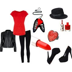red and black outfit polyvore