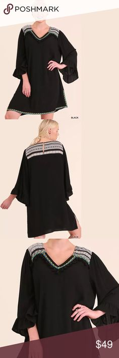 """✨NEW ARRIVAL✨ Embroidered Fringe Dress How to BUY, you can now purchase this listing directly-please select your size from the size menu to purchase. Thank you😊  Swing Tunic Dress  Fringe & embroidery detail  65% Cotton 35% Polyester Hand wash cold water, hang to dry Imported  Measurements XL-Bust up to 47"""" Sleeve 18.5"""" Length 35.5""""             1XL-Bust up to 49"""" Sleeve 18.5"""" Length 35.5""""  Terms: Final sale. Price Firm. 10% off bundles. No trades. No holds. We offer our lowest and best…"""