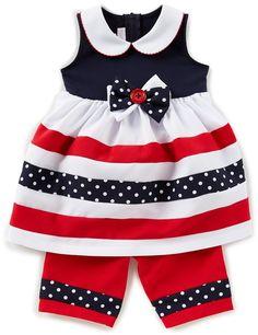 Baby Girls Newborn-9 Months Striped Bow Dress & Poplin Capri Pants Set Newborn Girl Dresses, Baby Girl Newborn, Girls Dresses, Baby Baby, Baby Girls, Baby Dresses, Girls Frock Design, Bonnie Jean, Frocks For Girls