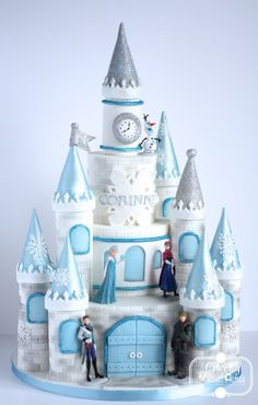 """Frozen Cake"""" Corinne's mum wanted a more traditional castle for a more princessy feel, but I added a touch of sparkly snowflakes to make it to this year's most wanted theme, Frozen. The whole castle cake was based on McGreevy Cakes's free. Tarta Frozen Disney, Disney Frozen Castle, Frozen Castle Cake, Bolo Frozen, Frozen Theme Cake, Frozen Themed Birthday Party, Disney Cakes, Princess Castle Cakes, 4th Birthday"""