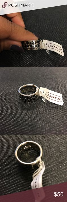 Coach ring Coach silver and black ring Coach Jewelry Rings