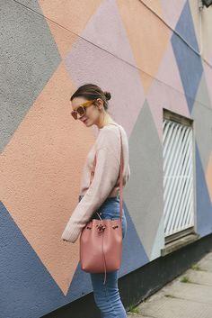 $20 - $100 Pale Pastel Blush Pink Comfy Fluffy Sweater Light Blue High Waisted Denim Jeans Coral Pink Bucket Shoulder Bag Tumblr