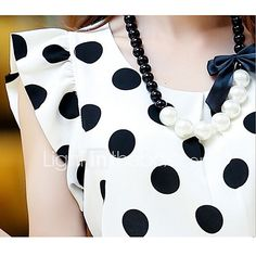 Purchase Women Summer Casual Polka Dot Round Neck Short Sleeve Shirt Top Chiffon Blouse from Aofa on OpenSky. Cheap Blouses, Blouses For Women, Collars For Women, Polka Dot Blouse, Polka Dots, Girls Party Dress, Basic Tops, Short Models, Madame