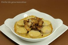 cassolette de cèpes boudins blancs sauce foie gras - recette clic sur photo
