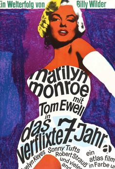 "Film: The Seven Year Itch (1955) Year poster printed: 1966 Country: Germany Exact Size: 23"" x 33"" Artist: Dorothea Fischer Nosbisch This is an original German A1 movie poster from 1966 for a theatrica"