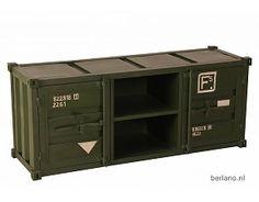 Kast met container look - TV kast T08 legergroenroen
