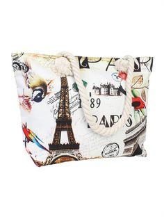 Roam Around Paris Canvas Shoulder Tote Beach Bags Zip Closure Rope Handles NWT Paris Canvas, Beach Tote Bags, Purses And Bags, Closure, Zip, Best Deals, Shoulder, Beach Bags