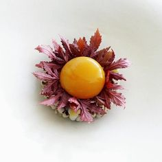 Egg yolk confit, hibiscus, ginkgo, Job's tears coixseed and cranberry Food Plating, Plating Ideas, Molecular Gastronomy, Teller, Edible Art, Food Design, Food Presentation, Fine Dining, Food Styling